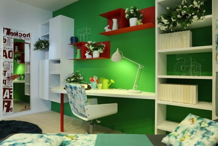 habitacion nino pared verde escritorio ideas