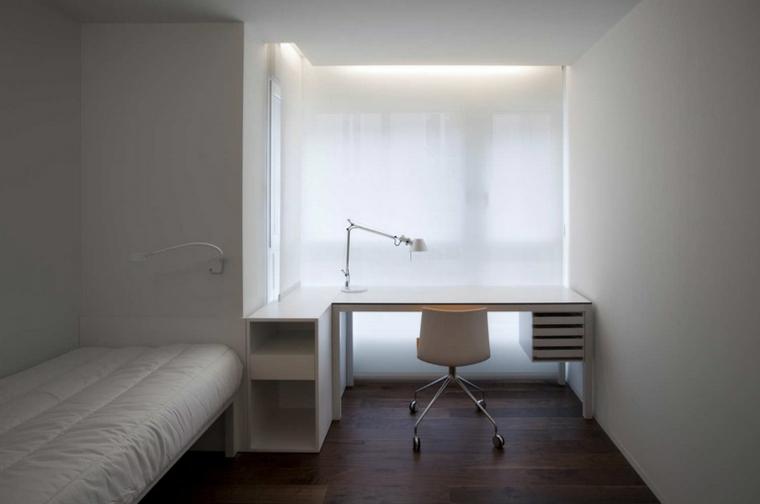 habitacion pequeña minimalista madera lampara