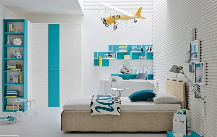 habitaciones niño azul blanco muebles ideas