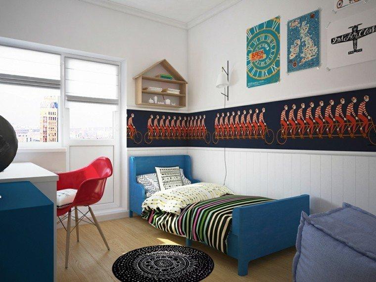 habitaciones niño cama azul madera escritorio ideas