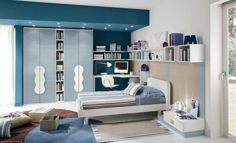 habitaciones niño pared azul alfombras cama blanca ideas
