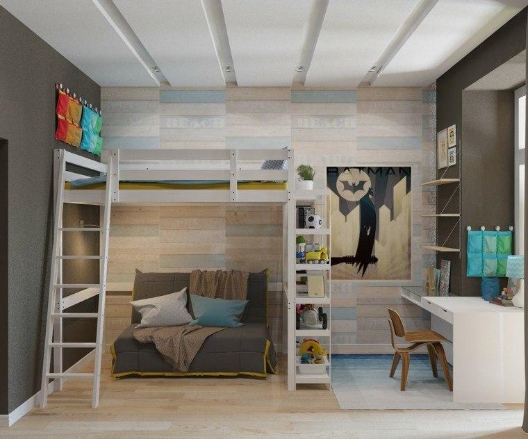 habitaciones niño pared madera escritotio blanco ideas