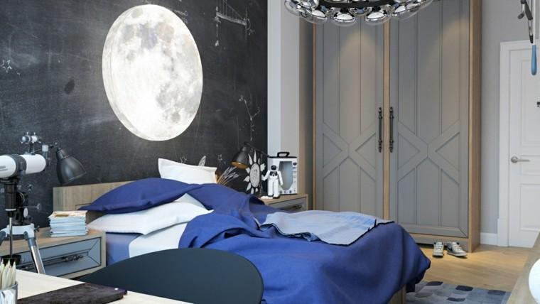 habitaciones nino pared negra cama grande ideas