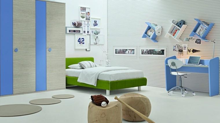 habitaciones niño taburetes madera cama verde ideas