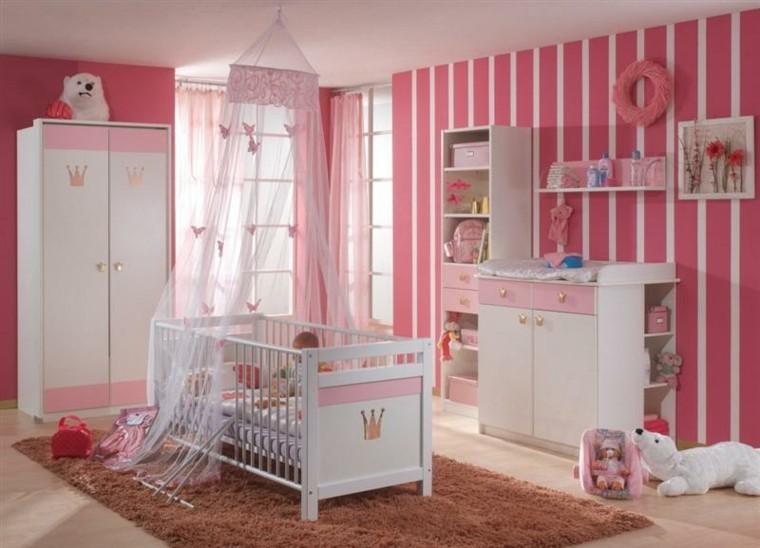 habitaciones para bebes rosa cama oso