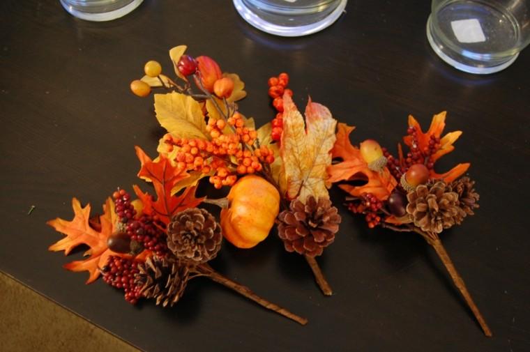 hojas piñas ramitas decorativas