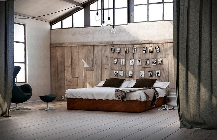 ideas creativas lamina madera pared dormitorio moderno