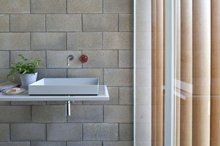ideas creativas pared piedra bano lavabo moderno gris