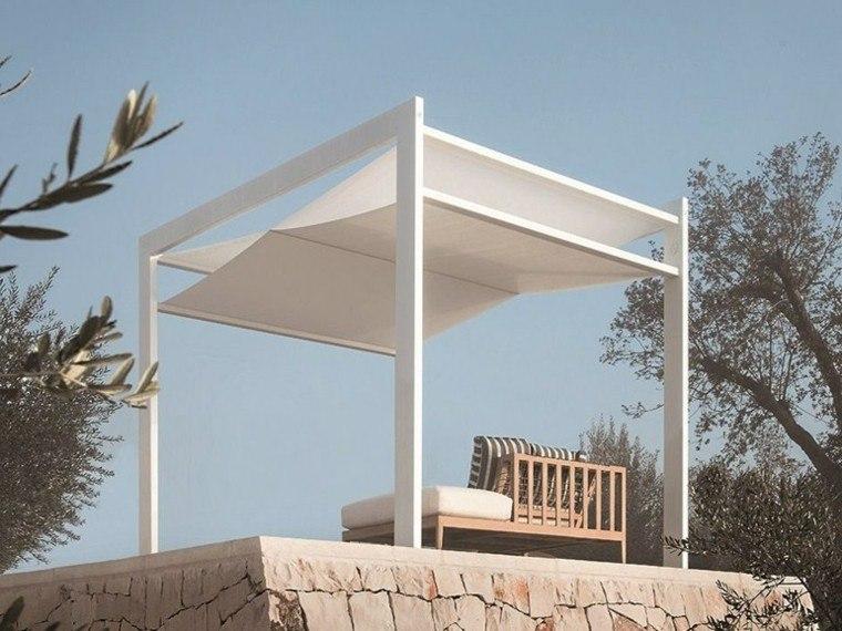 ideas interesantes de pérgolas blanca madera tela jardin