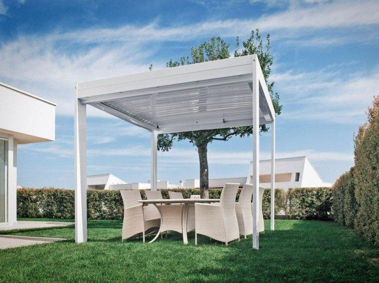 ideas interesantes de pérgolas jardin cesped muebles blancos moderna