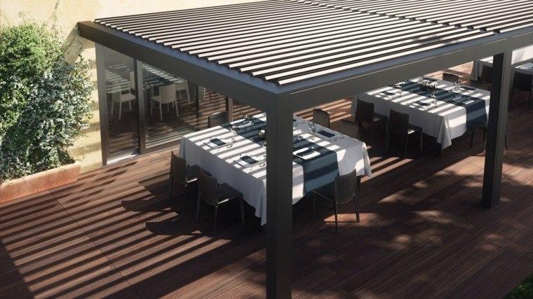 ideas de prgolas terraza madera moderna