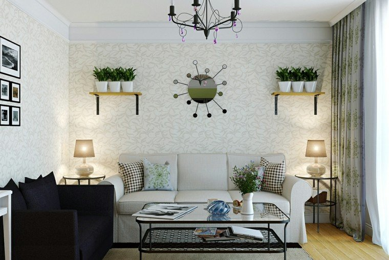 ideas para decorar una pared de saln con estantes con plantas