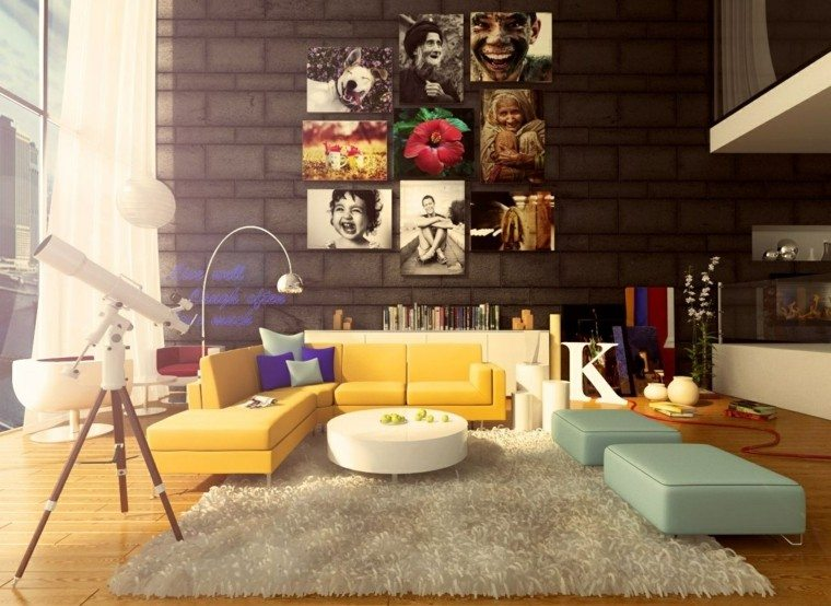 ideas para decorar una pared de salón muebles colores moderno