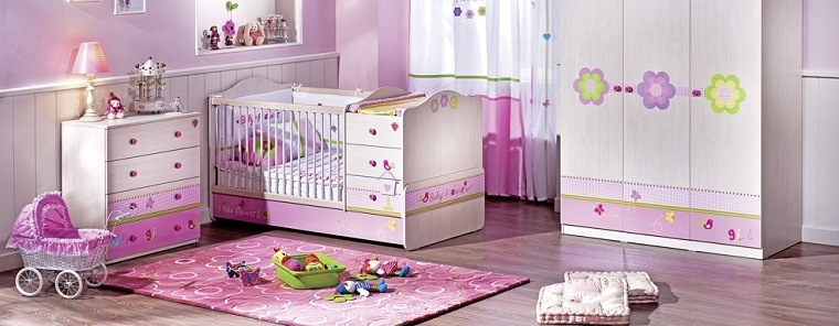 ideas para habitaciones de bebé chica color rosa moderno