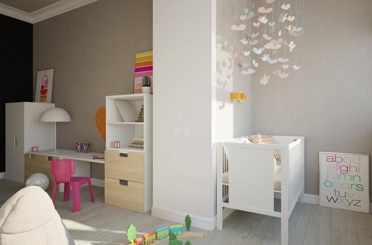 ideas para habitaciones de bebe cuna blanca moderna
