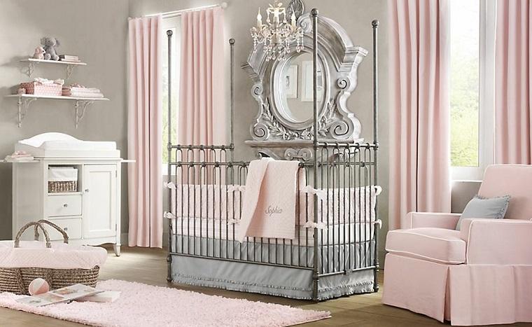 ideas para habitaciones de bebe elegante epejo pared moderna