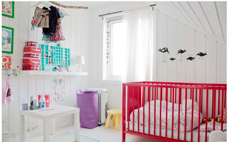 ideas para habitaciones de bebé paredes blancas moderna