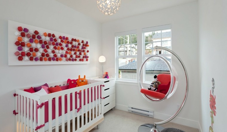 ideas para habitaciones de bebé silla colgante moderna