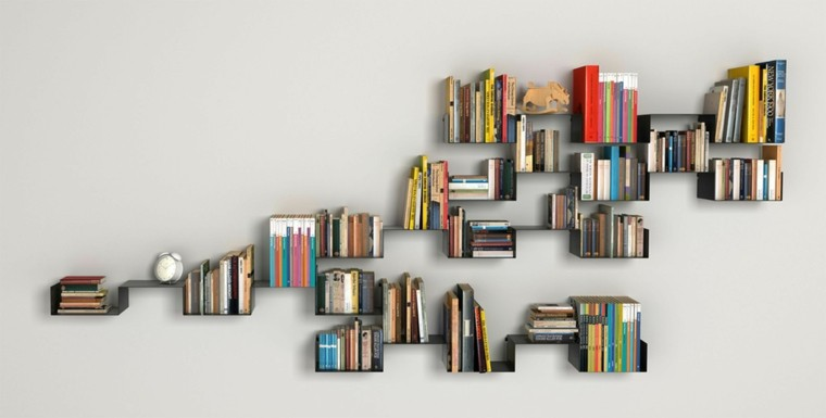 interesante diseño estanterias libros