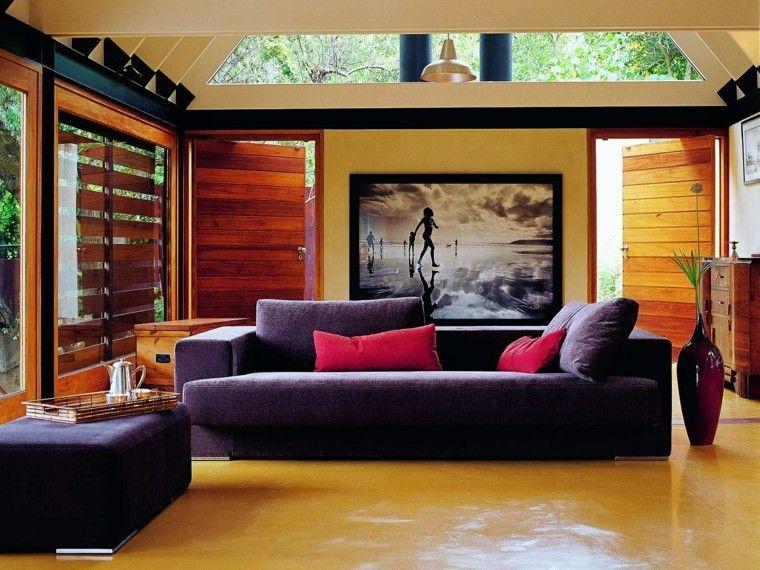 interior moderno puerta madera sofa