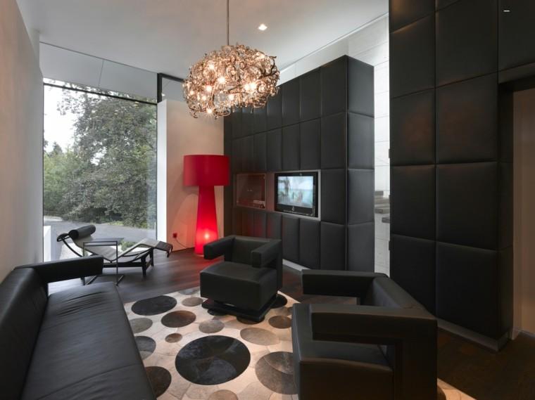 interiores de casas modernas lampara roja