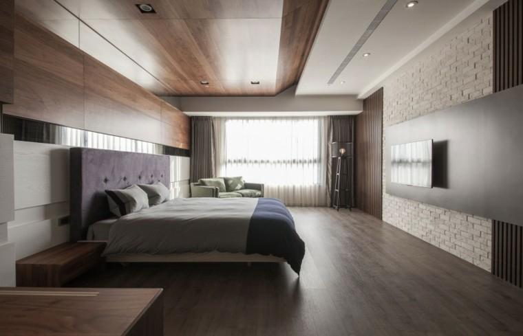 interiores minimalistas dormitorio amplio suelo madera ideas