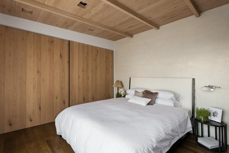interiores minimalistas dormitorio armario puertas madera ideas