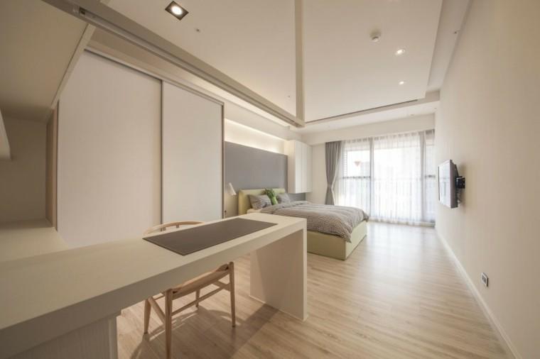 interiores minimalistas dormitorio barra cama verde claro ideas