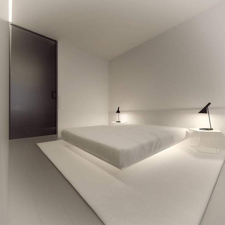 interiores minimalistas dormitorio cama blanca-plataforma flotante ideas