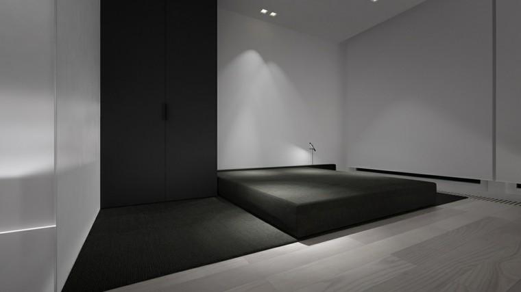 interiores minimalistas dormitorio cama negra ideas