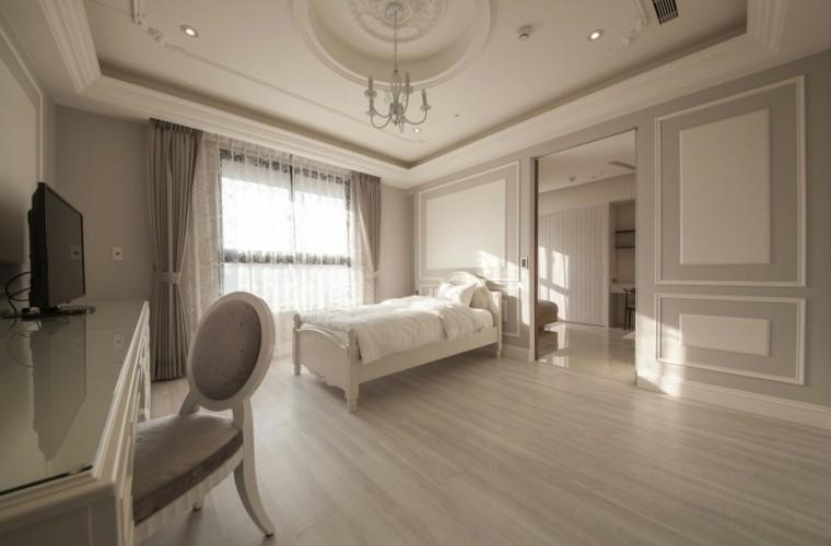interiores minimalistas dormitorio escritorio cama madera ideas