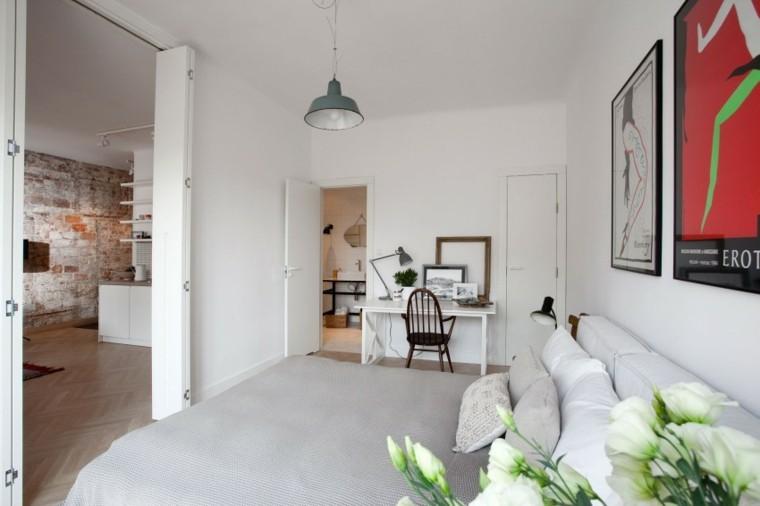 interiores minimalistas dormitorio escritorio mesa blanca ideas