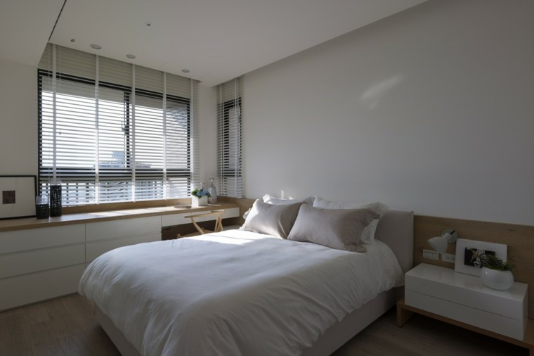 interiores minimalistas dormitorio estores blancos ideas