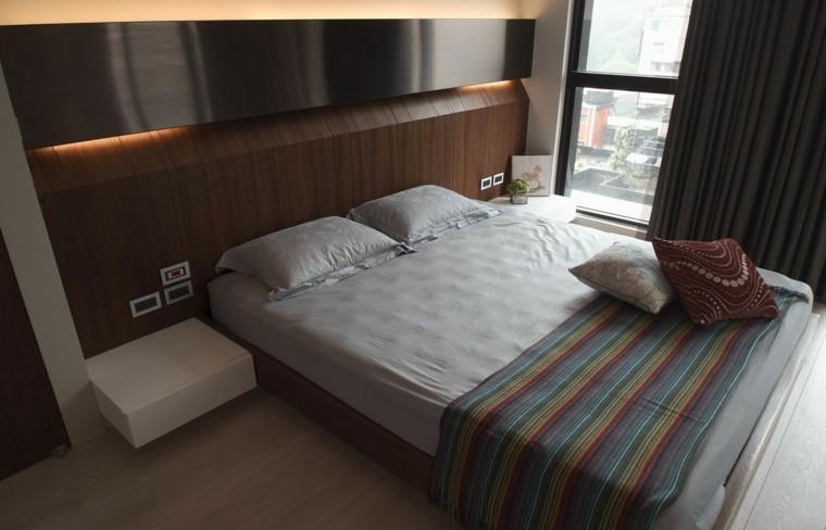 interiores minimalistas dormitorio mesitas noche blancas ideas