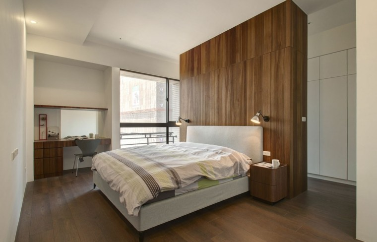 interiores minimalistas dormitorio pared madera oscura ideas