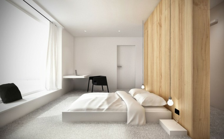 interiores minimalistas dormitorio pared madera ideas