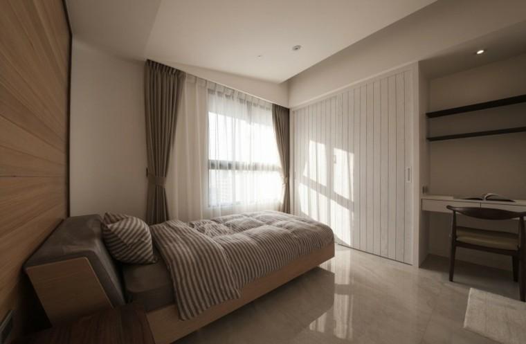 interiores minimalistas dormitorio pequeno cprtinas verde ideas