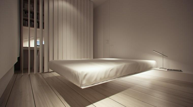interiores minimalistas dormitorio plataforma flotante cama ideas