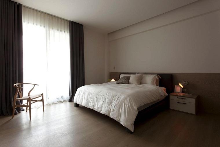 interiores minimalistas dormitorio silla madera ideas