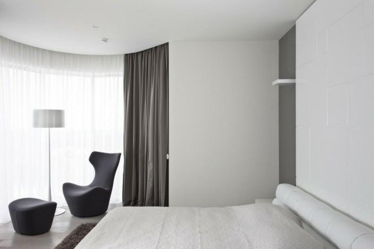 interiores minimalistas dormitorio silla taburete negros ideas