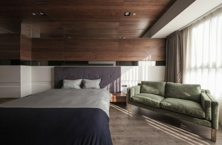 interiores minimalistas dormitorio sofa verde ideas