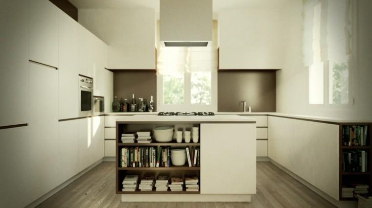 isla blanca pequena estanterias abiertas cocina ideas