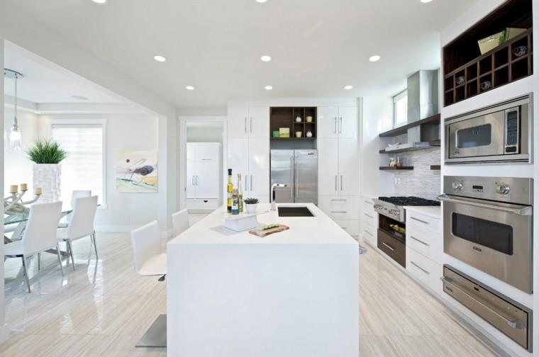 diseño isla cocina blanca moderna