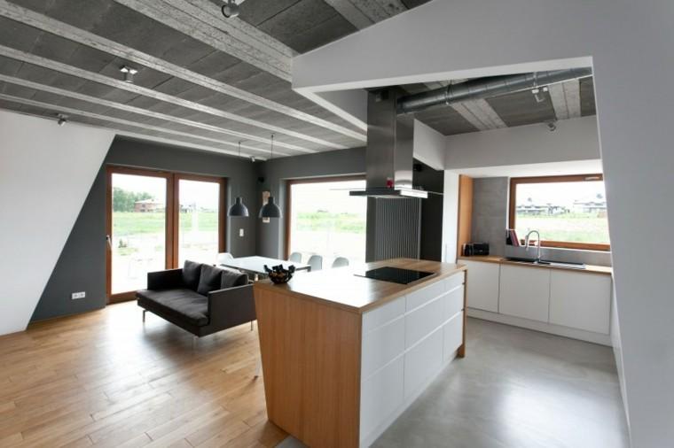 isla madera casa blanco gris cocina salon ideas