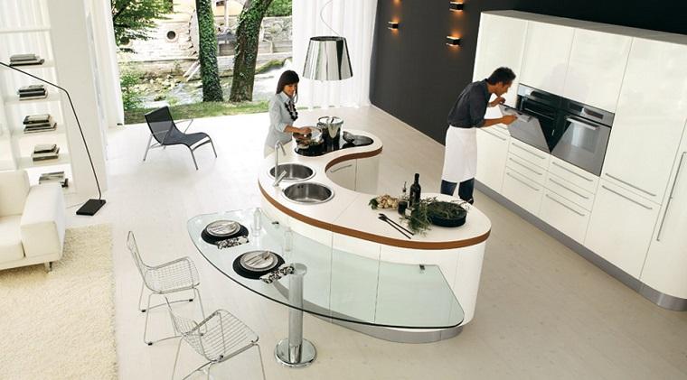 isla moderna forma interesante cocina moderna ideas