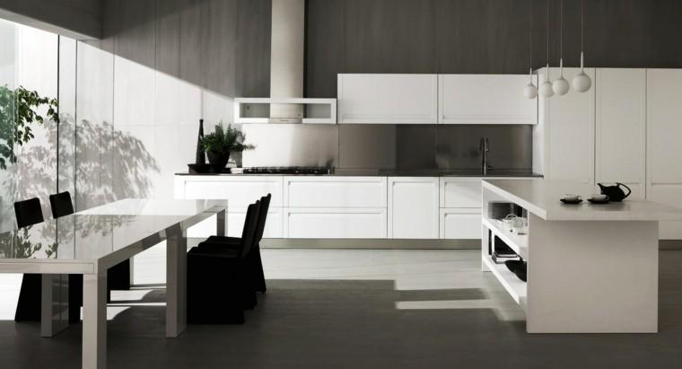 isla muebles blancos sillas negras mesa comer ideas