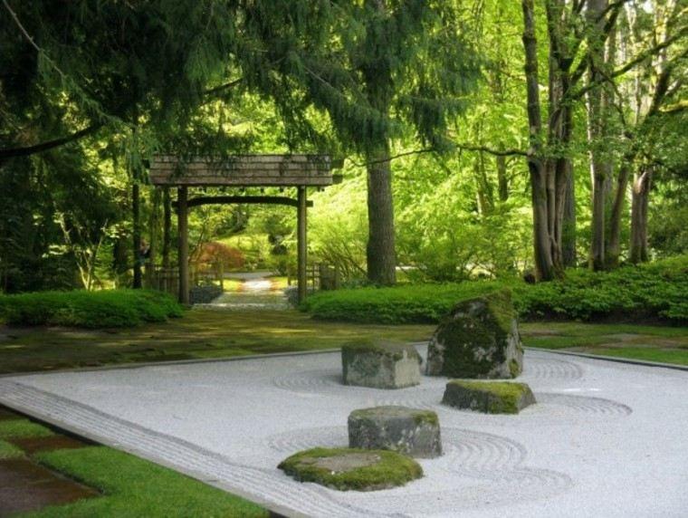 jardn japons estilo zen arena piedras grandes ideas