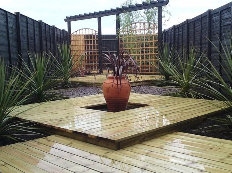 jardin estilo oriental pergola madera