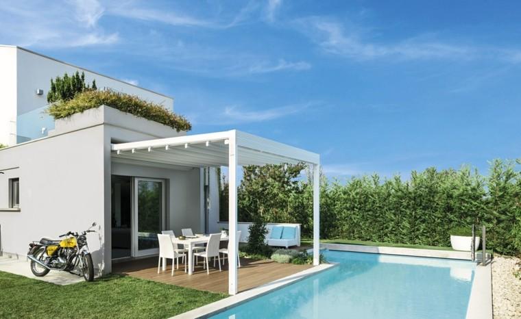 jardin piscinas cesped pergola blanca ideas