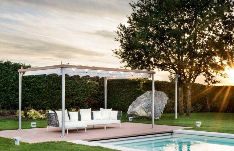 jardin piscinas cesped piedra grande pergola ideas
